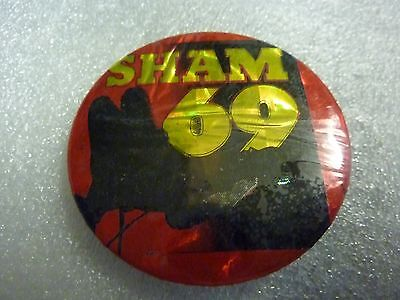 """"""" SHAM 69 """" Vintage 1970's - 1980's Button /  Badge  2 ½  """" *****ONE ONLY****"""""""
