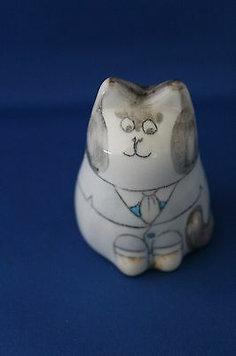 Decorative Vintage Rye Pottery Cat, 3.5 Inches High, Signed J.b On Base