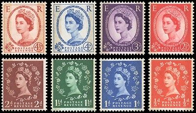 Great Britain #353c-360a set MNH black graphite bars on back