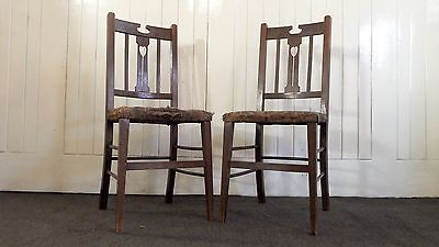 Antique pair of Oak Arts and Crafts bedroom chair / occasional chairs
