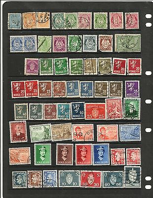 Norway selection of used stamps on stockcard early to mid period 62 mainly used