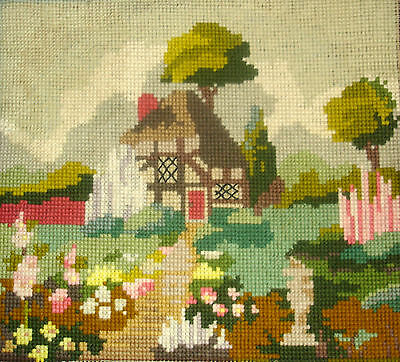 Vintage Completed Tapestry Cross Stitch Picture Unframed Country Cottage Garden