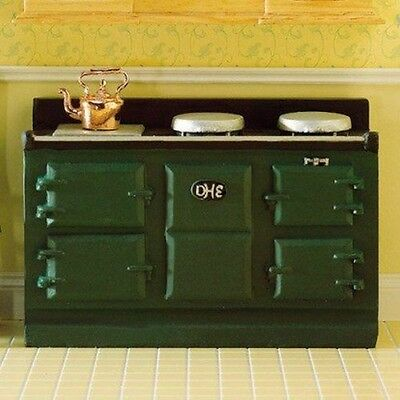 Green Aga Stove,Dolls House Miniatures, 1.12 Scale Kitchen Cooker