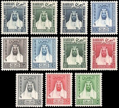 Bahrain set MNH footnote in Scott, 11 of 12