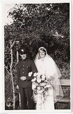 WEDDING OF A UNIFORMED SOLDIER - Bridal Bouquet - c1930s Real Photo postcard