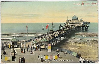 MORECAMBE - West End Pier - Reliable Series - 1908 used Lancashire postcard