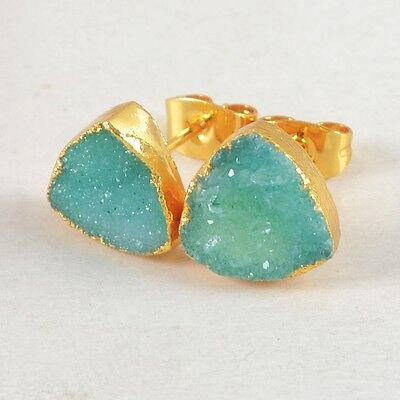10mm Triangle Agate Druzy Geode Stud Earrings Gold Plated B022991