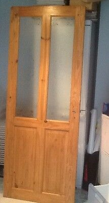Wooden door with 2 etched glass panels 76x196cm