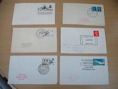 Six GB first day & postal covers 1966 1968 1969 with special cancels FDC
