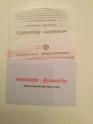 Monsoon Accessorize Merchandise Return Card Gift £59.00 With Receipt, Signed P&p
