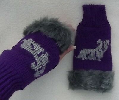 SKYE TERRIER  dog on NEW knitted adult size FINGERLESS GLOVES with fur trim