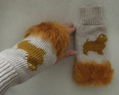 NORFOLK TERRIER dog on NEW knitted adult size FINGERLESS GLOVES with fur trim