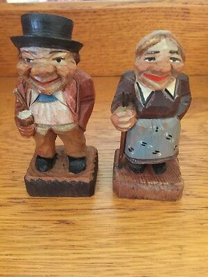 Vintage Hand Carved Wooden Figures Man And Woman