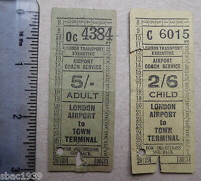 London Airport to Town Terminal pair of 1950s vintage coach tickets