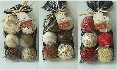 18 x 8cm decor balls natural cream red decorative 3 gift bags Christmas gift NEW