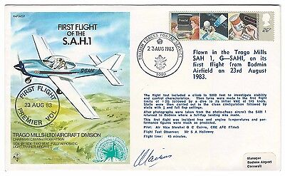 GB 1983 First Flight cover Trago Mills SAH-1 Bodmin Airfield British forces Post
