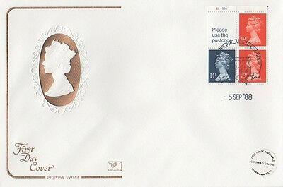 Booklet Pane Umfb45 With B1/b16 Controls On A Cotswold Fdc. Windsor Postmark.
