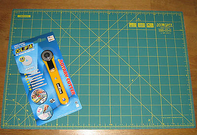 """OLFA Rotary Cutter RTY-1/G & Cutting Mat RM-IC-C 12"""" X 18"""" Fabric Leather Paper"""