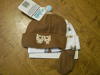 Gerber 2 hats and one mittens 0-6 months and 2 bibs