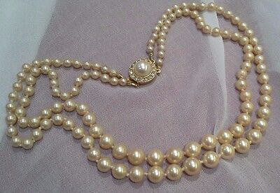 Vintage Double Row Graduated Faux Pearl and Crystal Necklace 2 Row