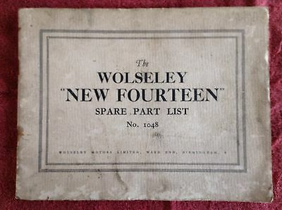 Wolseley 'New Fourteen' spare parts list 1930s