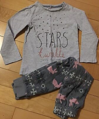Next Girl Pink Grey Sparkle Fleece Pyjamas PJs Top And Bottoms Age 5 Yrs VGC