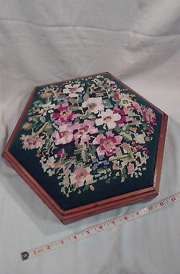 Wooden Foot Stool with hand embroidered top Floral design