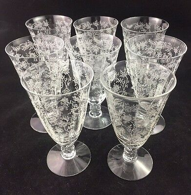 "Set of 8 Fostoria CHINTZ 4 3/4"" Etched Juice Glasses 1 Stem w/ a Small Iclusion"