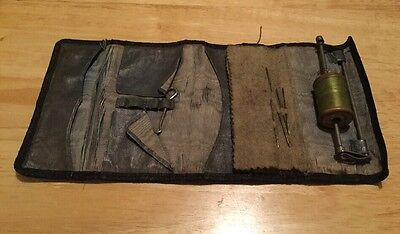 Antique Leather Sewing Kit Roll Carry Case.