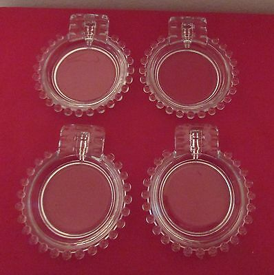 Imperial Glass Candlewick Clear 2 Slot Ashtray Set of 4 Nice