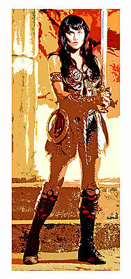 "Princess Xena Warrior Lucy Lawless Unique Retro Lifesize Art On Canvas 36""x74"""