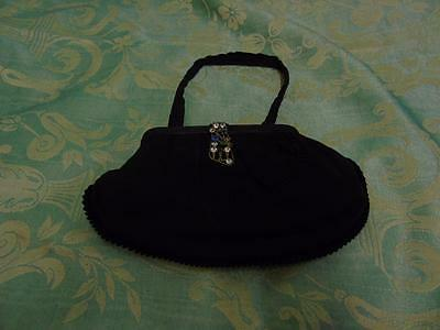 Small Vintage Black Fabric Evening Bag with Diamante Floral Clasp & fixed purse
