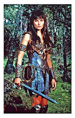 "Princess Xena Warrior Lucy Lawless Retro Unique Art On Quality Canvas 36""x48"""