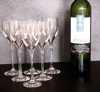 """Six  Dartington Crystal """"Tor"""" sherry glasses FT64/1 in excellent condition."""