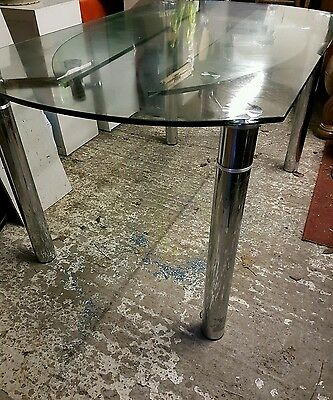 Very Smart Glass & Chrome Extending Dining Table
