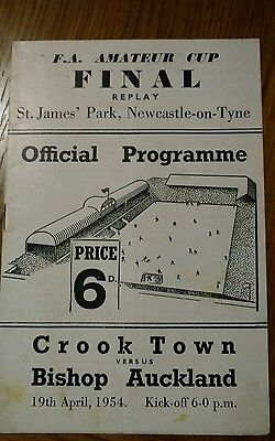 Crook Town v Bishop Aukland 1954 amateur cup final replay match programme