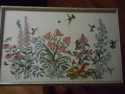Handmade Finished Completed Cross-Stitch Flowers, Humming Birds, Butterflies