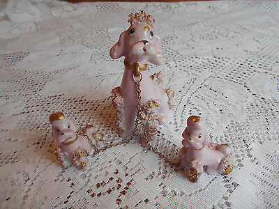 Vintage Pink 1950's Spaghetti Poodle With Chain Leashed Pups