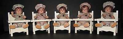 ♚ORIGINAL 1930's  HTF Set of 5 Madame Alexander Dionne Quintuplet Low Chairs
