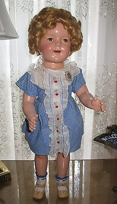 """♚ 1930's BEAUTIFUL 25"""" Ideal Composition """" CHERRIES """" Shirley Temple Doll"""