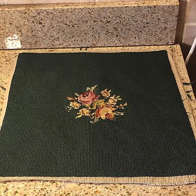 Vintage Floral Needlepoint Chair Cover On Green Blackground