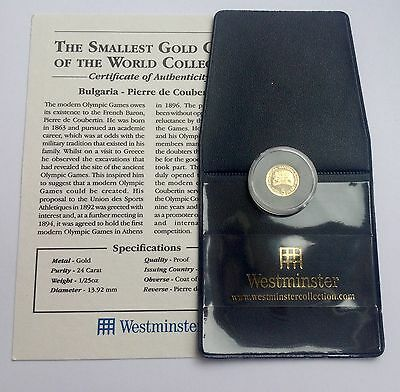 .999 24ct GOLD COIN (PROOF) BULGARIA PIERRE DE COUBERTIN  WITH WESTMINSTER COA
