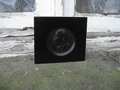 vintage & unusual russian black glass plaque of lenin