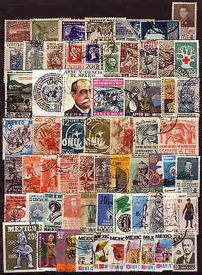 MEXICO 110+ DIFFERENT LARGE STAMPS TO 60s/70s...NICE LOT......