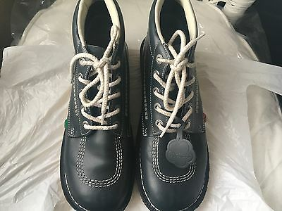 Kickers Kick Hi Mens Blue Leather Ankle Boots Size 9