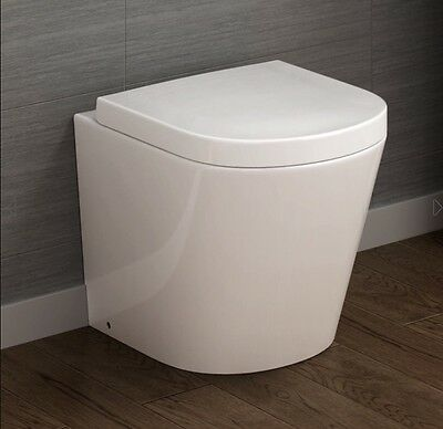 Contemporary Back To Wall Toilet WC Pan & Luxury Soft Close Seat Brand New Boxed
