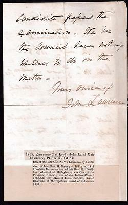 1863 ALS letter signed John LAWRENCE (1st Lord) Viceroy of India 1864-9