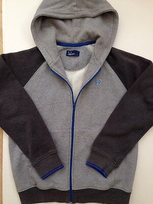 *FRED PERRY* Boys Grey Blue Hooded Top (size L) Hoodie Track Top