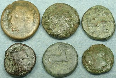 Lot Of 6 Greek Bronze Coins