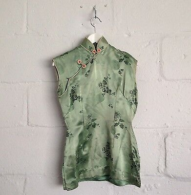 True Vintage 70s Silk Top 10 12 Boho Oriental Green Embroidered Jacquard Chines